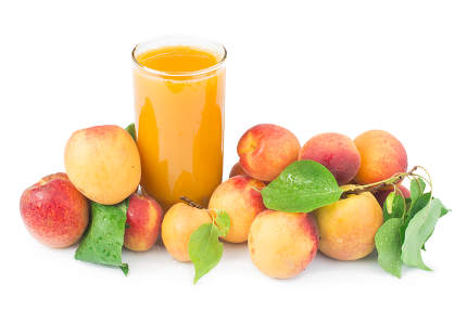Apricots and glass juice
