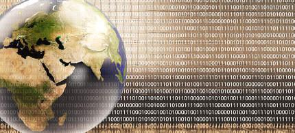 binary code golden background planet earth 3d-illustration. elem