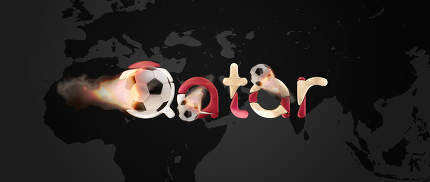 bold letters Qatar. elements of this image furnished by NASA