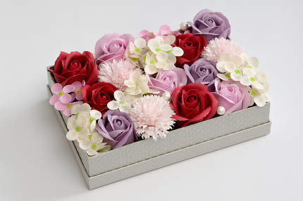 Box Of Flowers Made From Soap