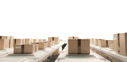 brown packages for delivery in modern logistics center. packages