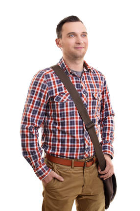 Casual man in plaid shirt and a shoulder bag