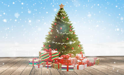 christmas gifts and decorated christmas tree 3d-illustration