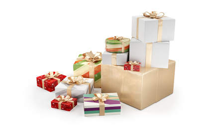 Christmas gifts. festive presents design 3d-illustration