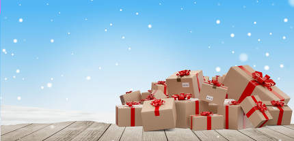 christmas gifts wrapped delivery parcels 3d-illustration