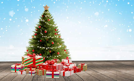 Christmas tree and christmas gifts 3d-illustration