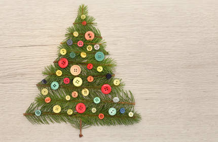 Christmas Tree Made With Pine Branches And Buttons