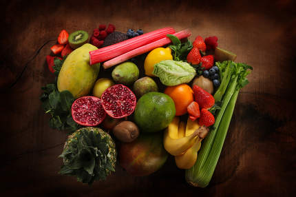 close up of healthy food and fruit with copy space