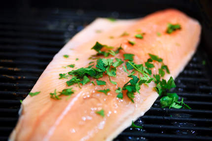 Close-up of a salmon fish fried on a grill seasoned with parsley,very low DOF