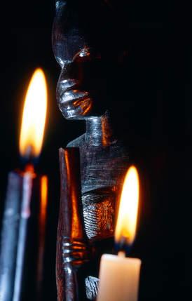 closeup of an african statue