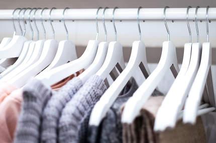 Clothes in wardrobe