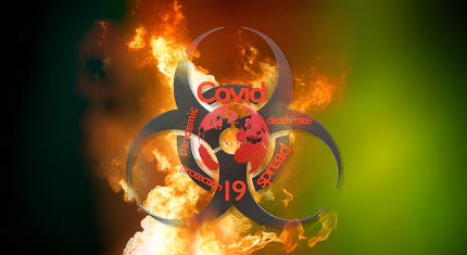 covid-19 background symbol and warning biohazard symbol with fir
