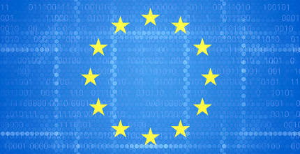 Europe background design with hexagonal and binary code structur