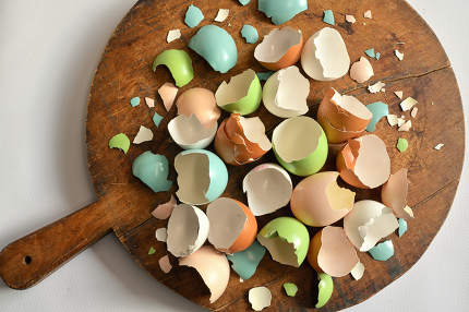 Farm eggs cracked and scrambled