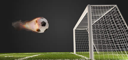 fire flames soccer football ball with soccer goal 3d-illustration