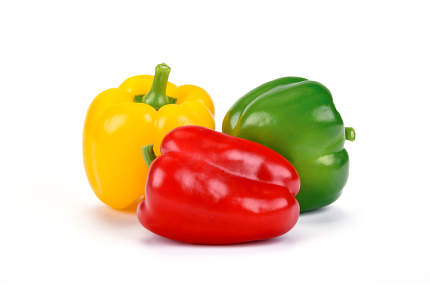 Fresh red yellow and green bell peppers