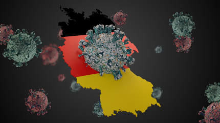 Germany outline and Coronavirus COVID-19 Virus cell. Corona Viru