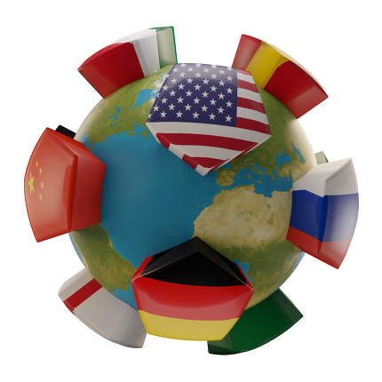 global world planet earth states USA China Germany France. influence and power random positions 3d-illustration. elements of this image furnished by NASA