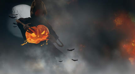 Halloween background tear up a Halloween pumpkin 3d-illustration