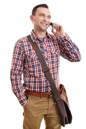 Handsome man in casual plaid shirt talking on mobile phone