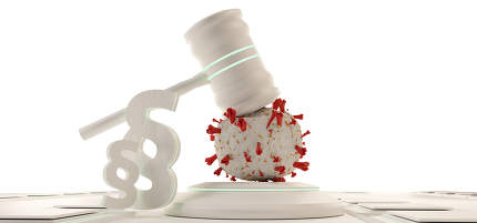 law, judge gavel symbolic virus cells. background 3d-illustratio