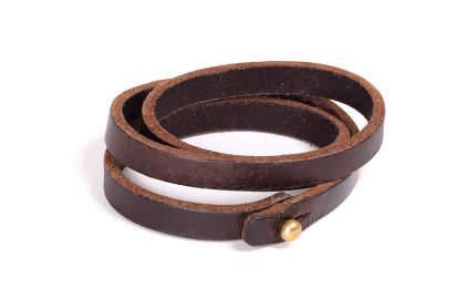 Leather wristband isolated on white