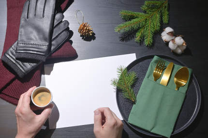 Man Holding Espresso Cup And Winter  Accesories