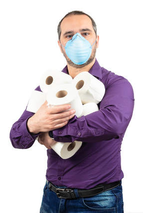 man with medical mask and toilet papers on white background