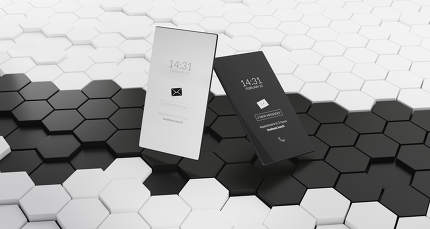 mobile phone dark mode grid hexagons black and white background