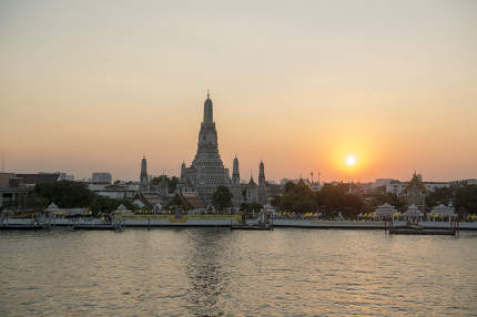 November, 2019 the Wat Arun Temple on the Chao Phraya River in the city of Bangkok in Thailand in Southest Asia