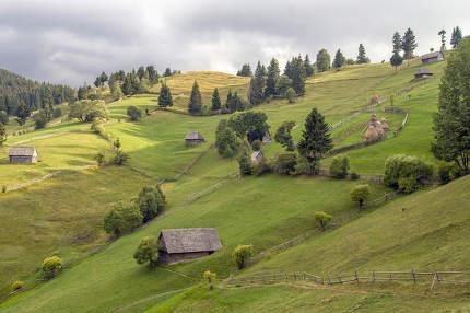 Old Vintage Village On Romanian Mountains