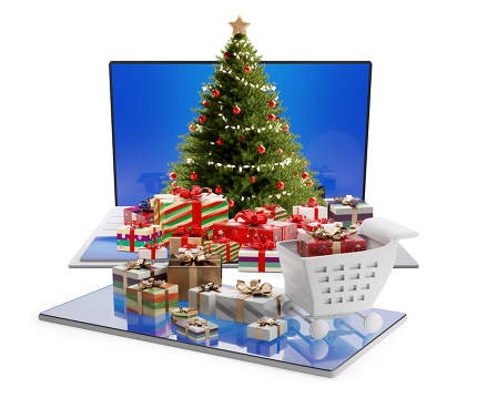 online shopping concept. computer and christmas gifts 3d-illustr