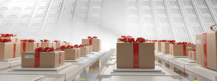 Package Center for shipping festive gift box with bow 3d-illustr