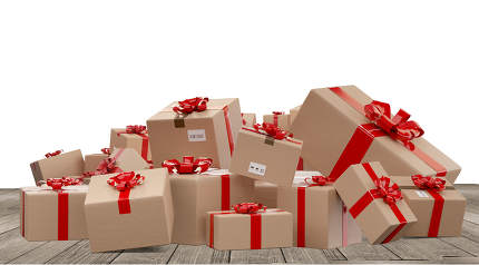 pile of wrapped christmas presents as postal parcel packages 3d-