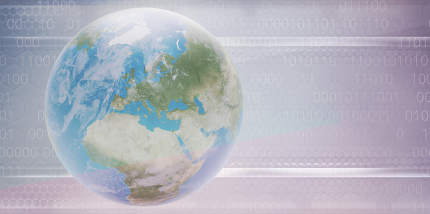 planet earth digital creative background random binary code 3d-illustration. elements of this image furnished by NASA