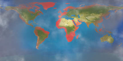red zones random coasts of the world. elements of this image furnished by NASA . 3d-illustration