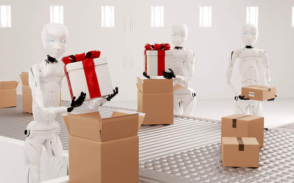 Robots pack gifts into packages standing by the conveyor belt 3d