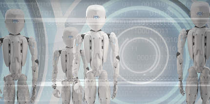 robots technology group of humanoids 3d-illustration