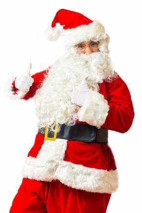 Santa Claus with thumbs up isolated on white background
