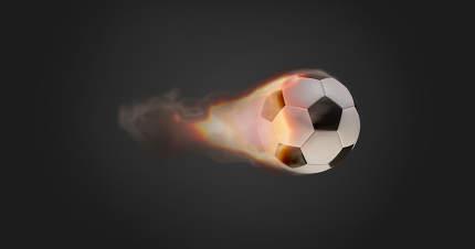 soccer ball fire flames on dark creative background design 3d-illustration