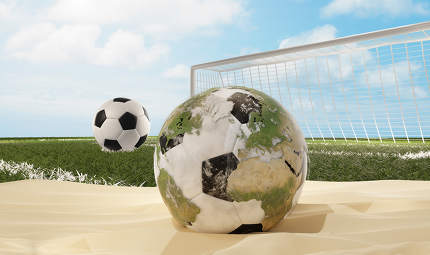 soccer ball in sand desert with world globe design 3d-illustrati