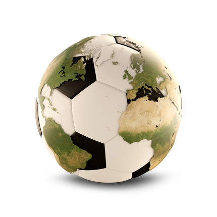 soccer ball. world map overlay 3d-illustration. elements of this