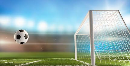 soccer field and ball and goal at blurred soccer stadium 3d-illustration