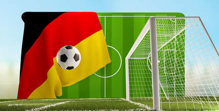 soccer field and soccer goal with flag of Germany and ball 3d-illustration