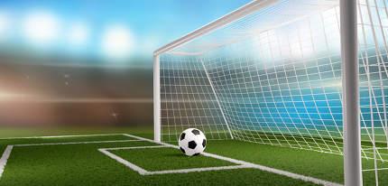 soccer football ball and soccer goal 3d-illustration