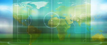 soccer football ball wtih soccer field and goal 3d-illustration. elements of this image furnished by NASA