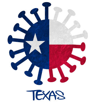 State flag of Texas with corona virus or bacteria