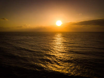 Sunrise of the Indian ocean on the Swahili coast.