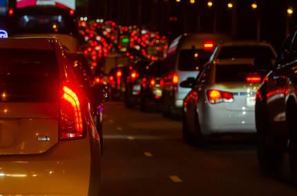 Traffic jam at night Bangkok