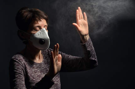 Woman Wearing Medical Protective Virus Mask